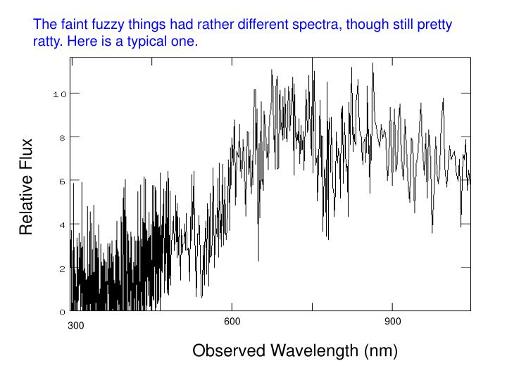 The faint fuzzy things had rather different spectra, though still pretty ratty. Here is a typical one.