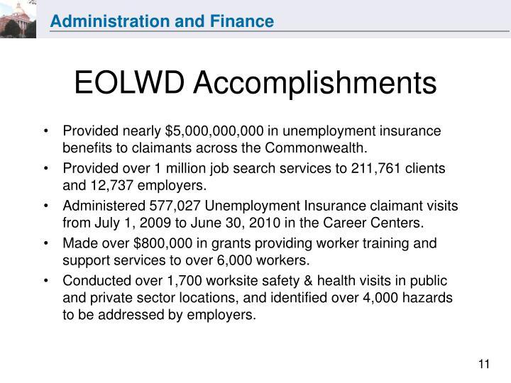 EOLWD Accomplishments