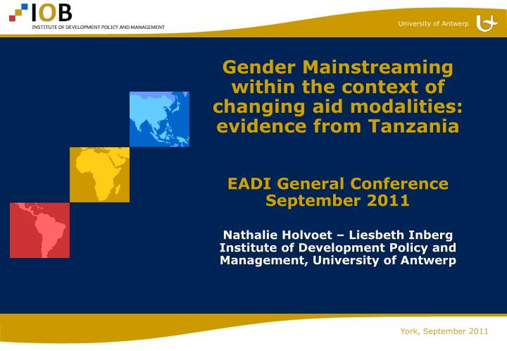 Gender Mainstreaming within the context of changing aid modalities: evidence from Tanzania
