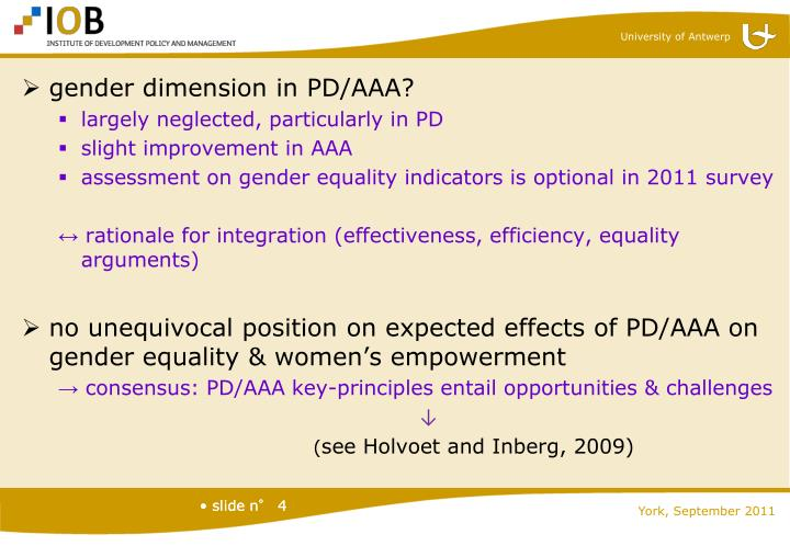gender dimension in PD/AAA?