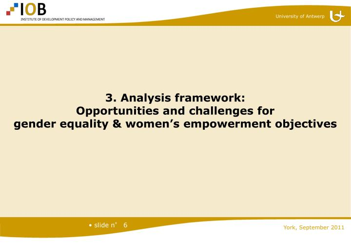 3. Analysis framework: