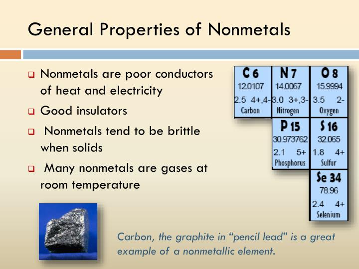General Properties of Nonmetals