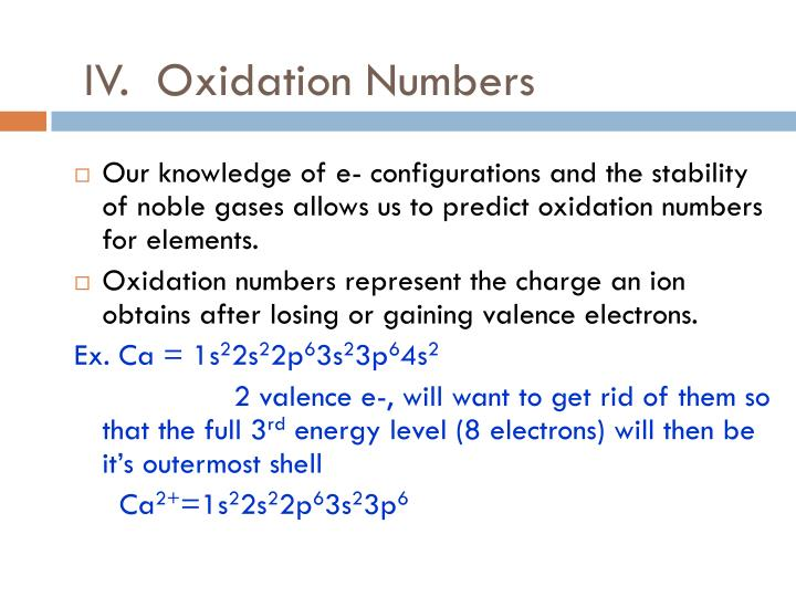 IV.  Oxidation Numbers