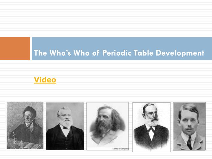 The Who's Who of Periodic Table
