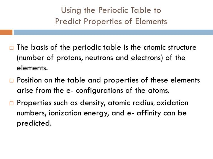Using the Periodic Table to