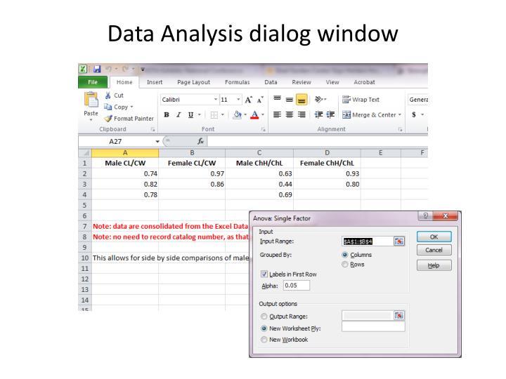 Data Analysis dialog window