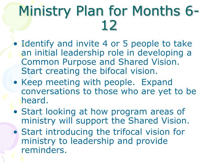 Ministry Plan for Months 6-12