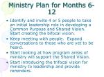 ministry plan for months 6 12