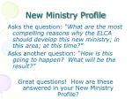 new ministry profile