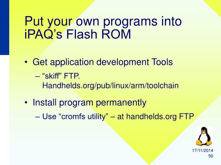 Put your own programs into iPAQ's Flash ROM