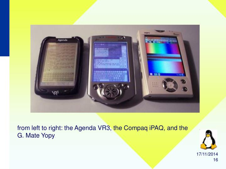 from left to right: the Agenda VR3, the Compaq iPAQ, and the G. Mate Yopy