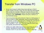 transfer from windows pc2
