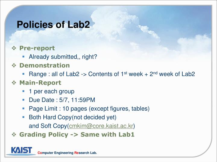 Policies of Lab2