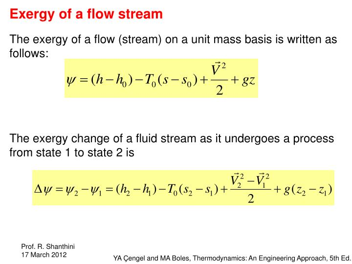 Exergy of a flow stream