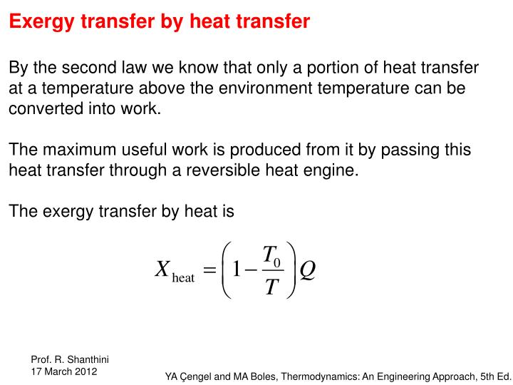 Exergy transfer by heat transfer