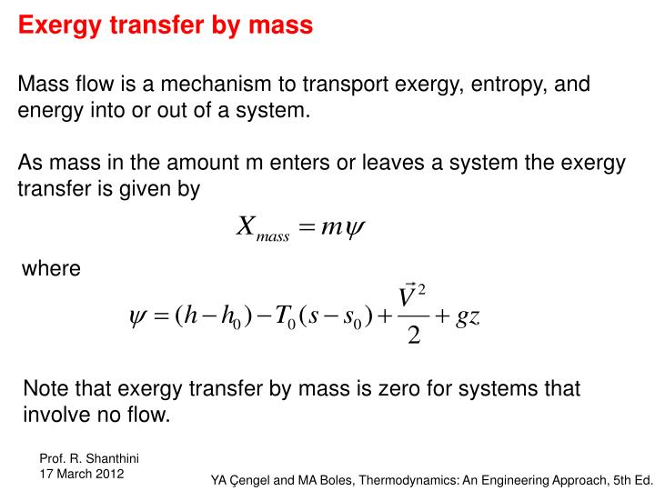 Exergy transfer by mass