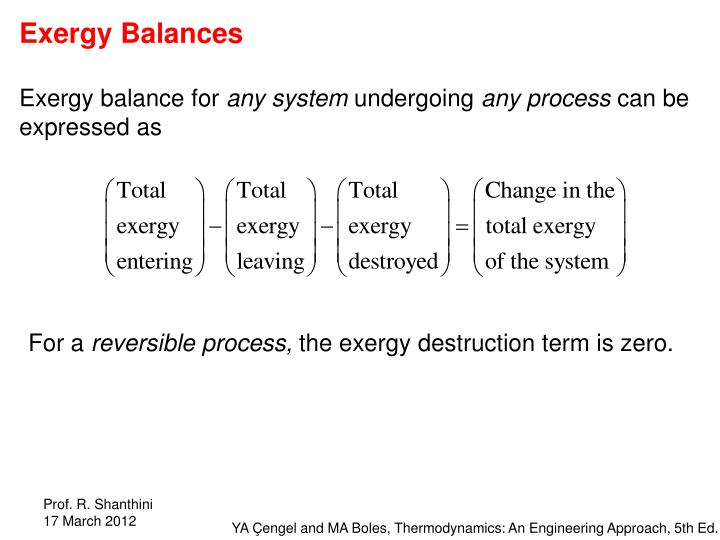 Exergy Balances