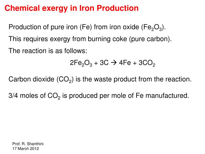 Chemical exergy in Iron Production