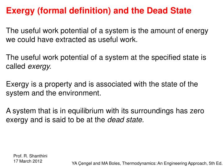 Exergy (formal definition) and the Dead State