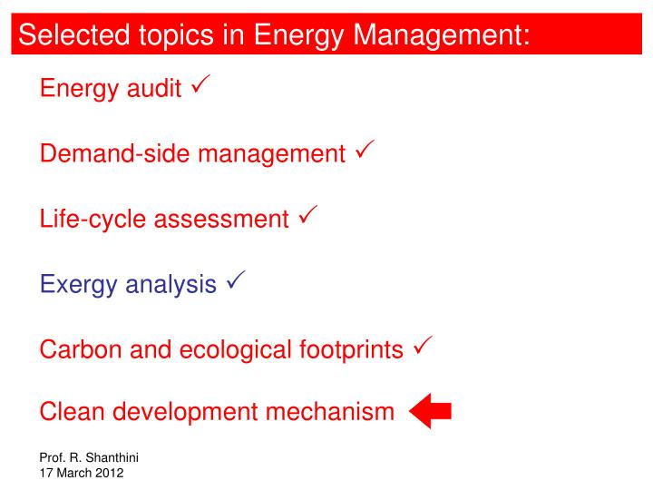 Selected topics in Energy Management: