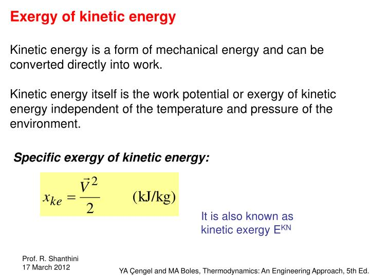 Exergy of kinetic energy