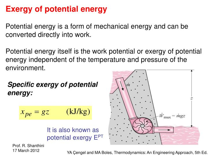 Exergy of potential energy