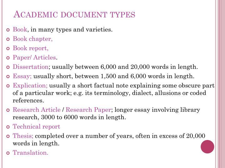 Academic document types
