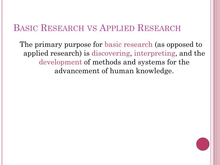 Basic Research vs Applied Research
