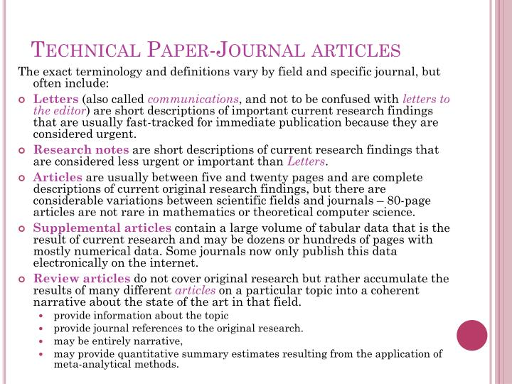 Technical Paper-Journal articles