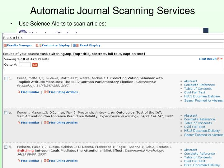 Automatic Journal Scanning Services