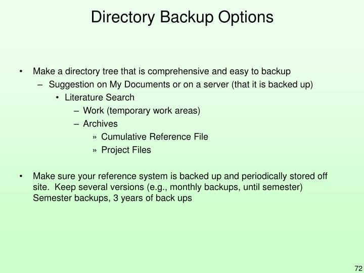 Directory Backup Options