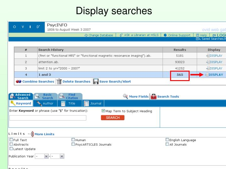 Display searches