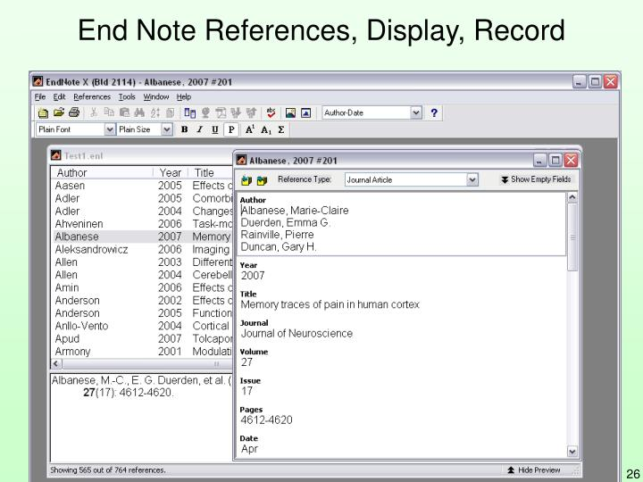End Note References, Display, Record