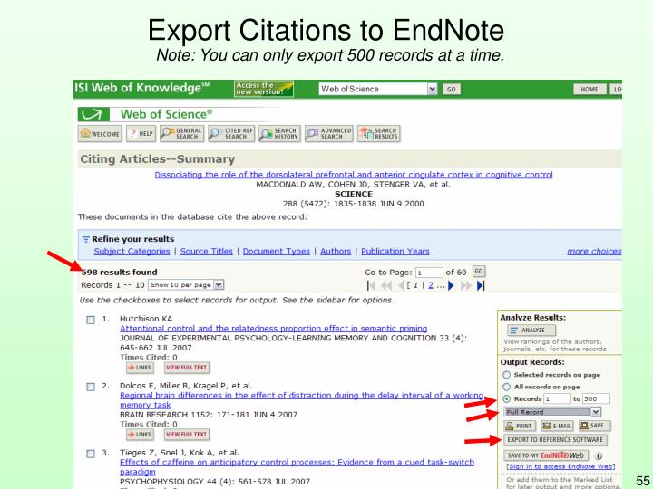 Export Citations to EndNote