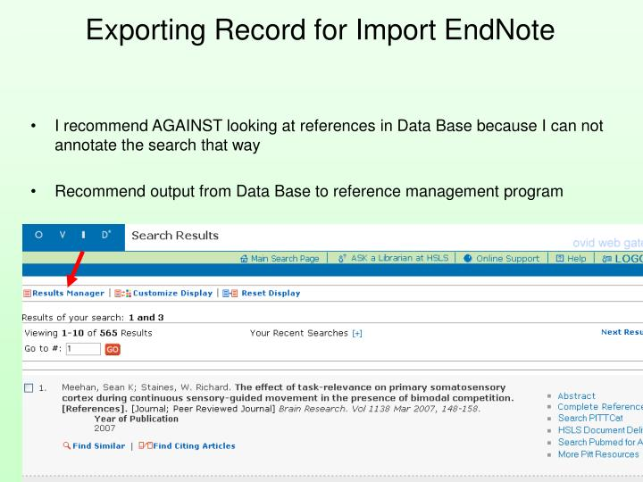 Exporting Record for Import EndNote