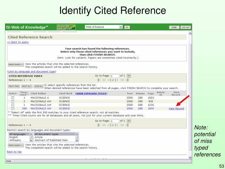 Identify Cited Reference