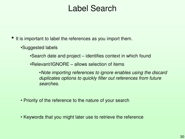 Label Search