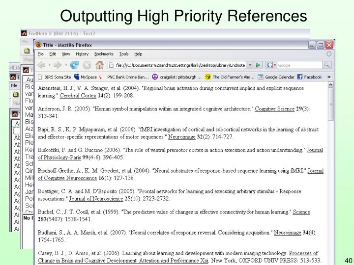 Outputting High Priority References