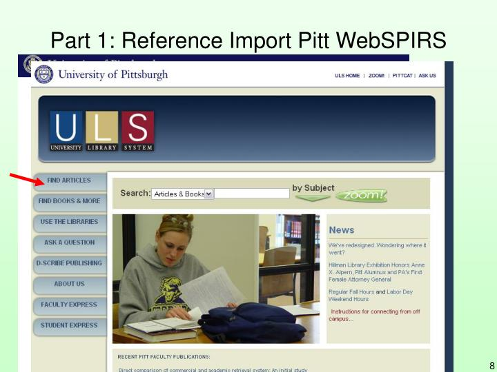 Part 1: Reference Import Pitt WebSPIRS