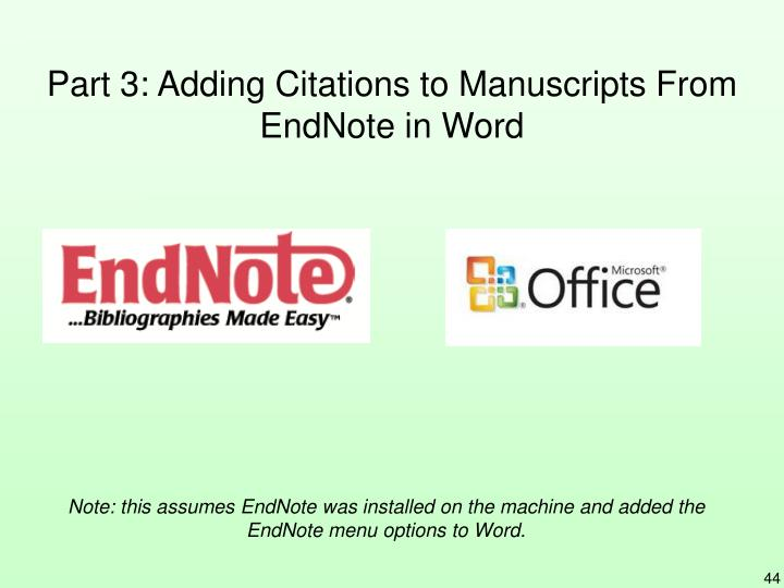 Part 3: Adding Citations to Manuscripts From EndNote in Word