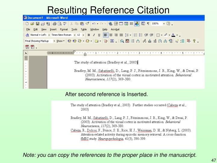 Resulting Reference Citation