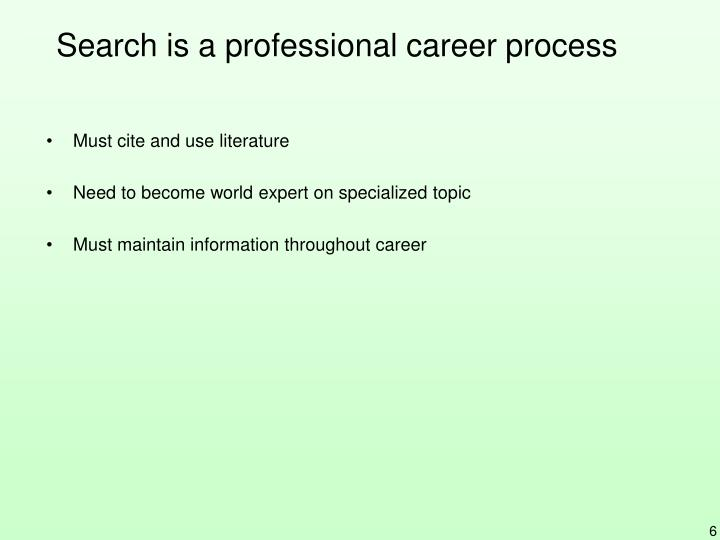 Search is a professional career process