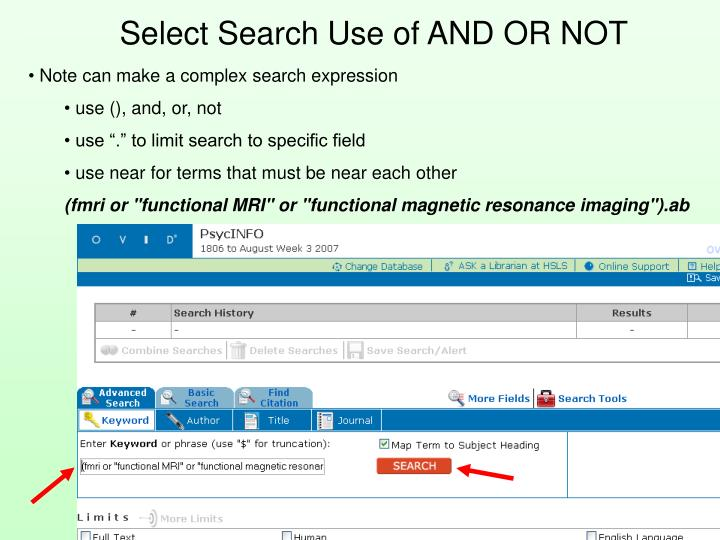 Select Search Use of AND OR NOT
