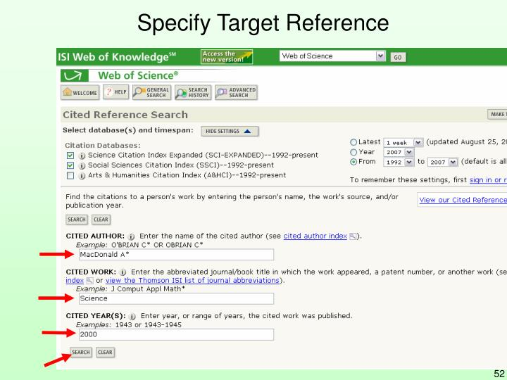 Specify Target Reference