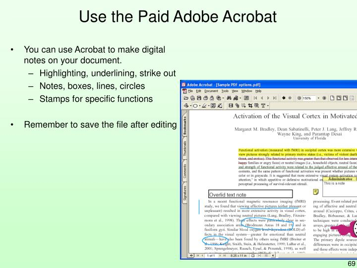 Use the Paid Adobe Acrobat