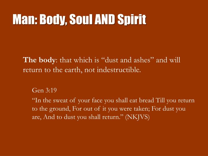 Man: Body, Soul AND Spirit