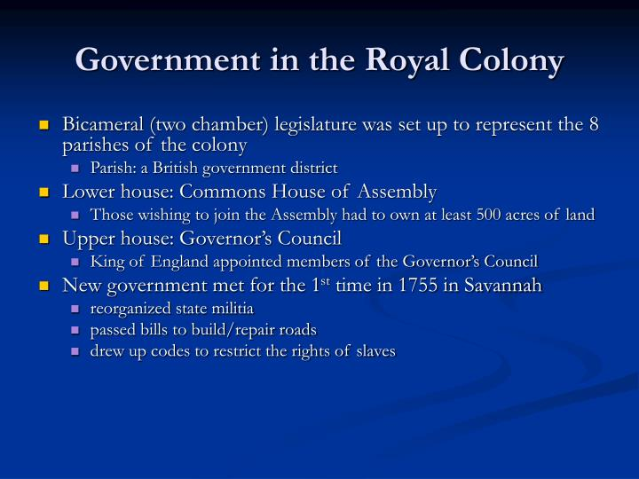 Government in the Royal Colony