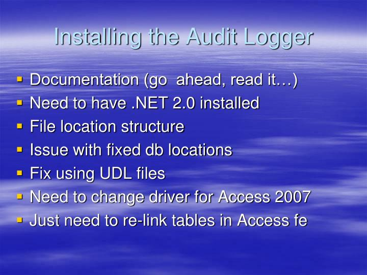 Installing the Audit Logger