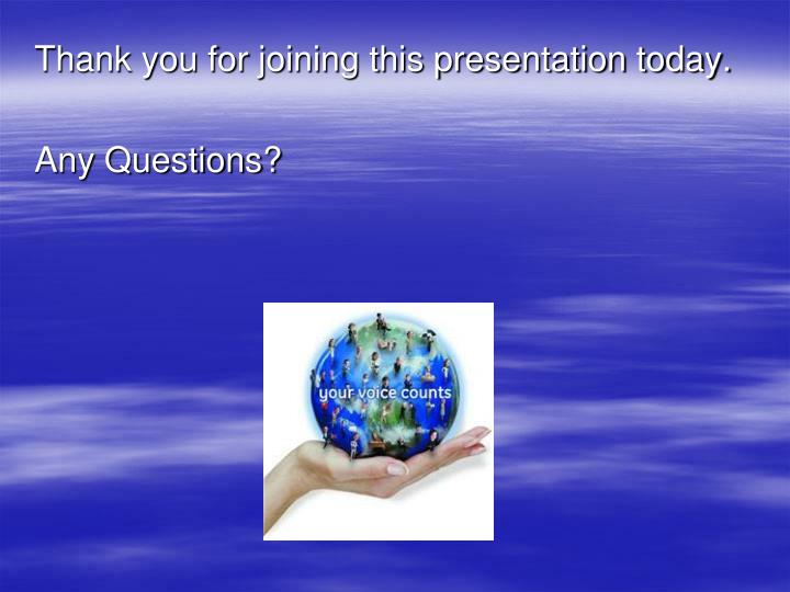 Thank you for joining this presentation today.