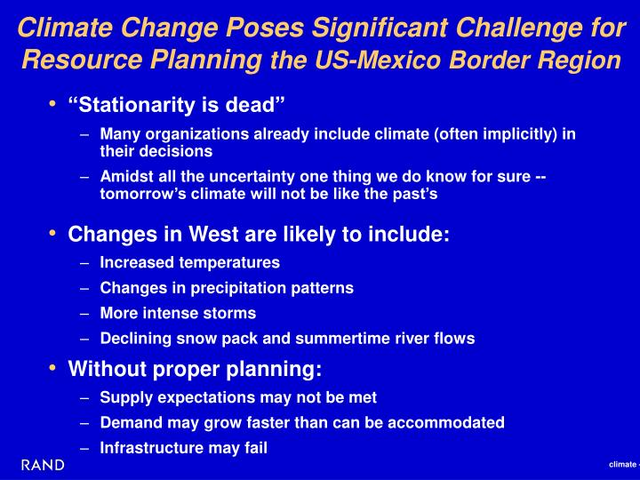 Climate Change Poses Significant Challenge for Resource Planning